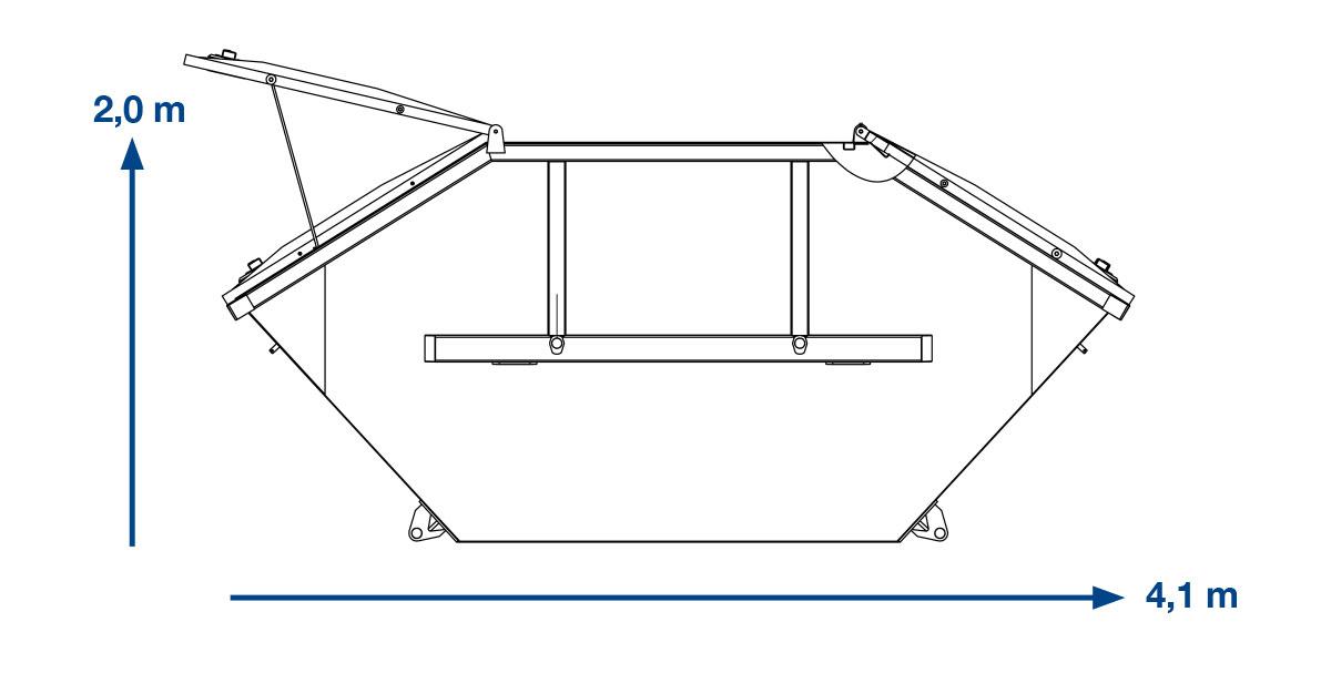 ABSETZMULDE  BAUSTELLENABFALL – 10 m³ mit Deckel