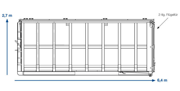 ABROLLCONAINTER BAUSTELLENABFALL –  31 m³ Deckel links
